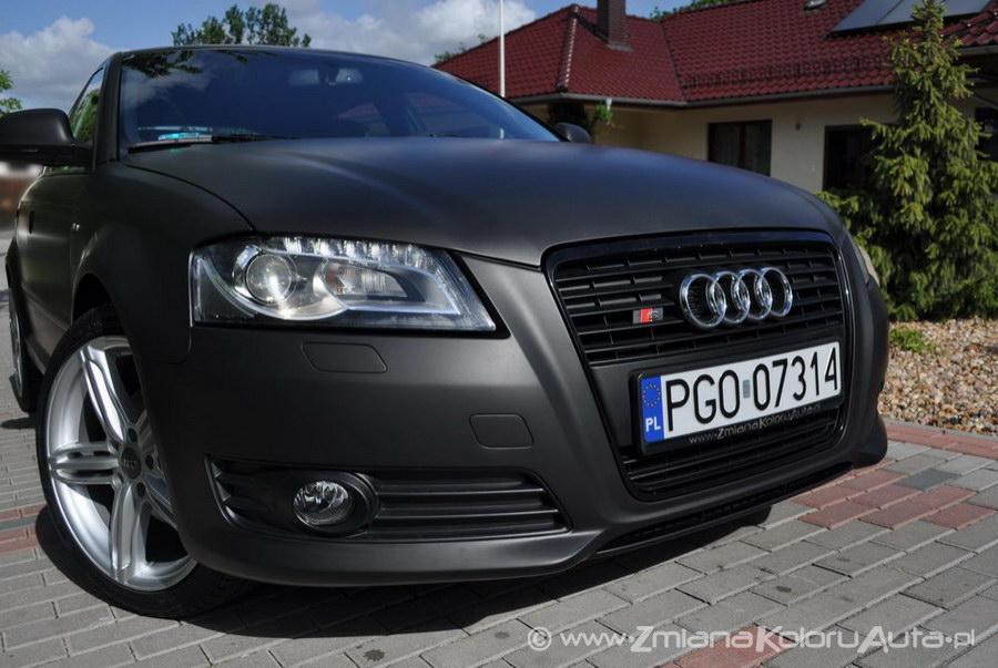 Oklejanie Samochodów Audi A3s Czarny Mat Oklejanie Matową Folią
